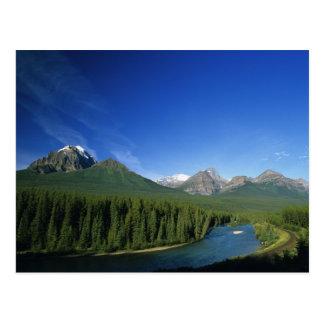 アルバータのバンフ国立公園の近くで川を曲げて下さい ポストカード