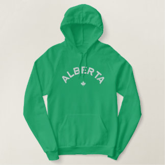 アルバータのフード付きスウェットシャツ-白いカナダのカエデの葉 刺繍入りパーカ