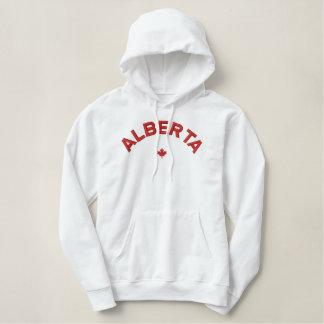 アルバータのフード付きスウェットシャツ-赤いカナダのカエデの葉 刺繍入りパーカ