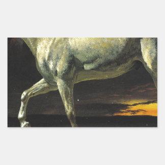 アルバートBierstadt著白馬そして日没 長方形シール