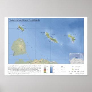 アルバ、ボネールおよびCuraçaoの1:500,000の地図 ポスター