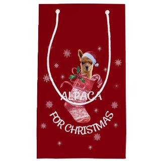 アルパカのクリスマスのギフトバッグ スモールペーパーバッグ