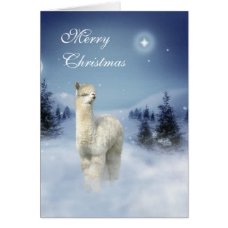 アルパカの冬夜クリスマスカード カード