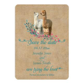アルパカの国の保存日付の招待状 カード