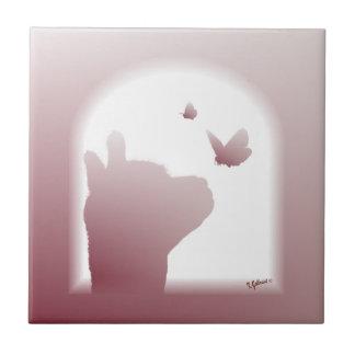 アルパカの蝶シルエットのタイル タイル