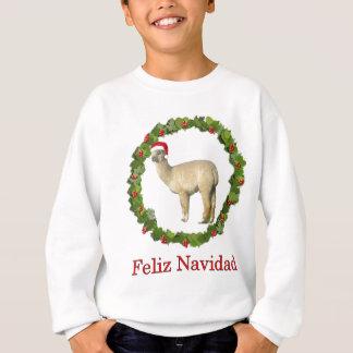 アルパカのFeliz白いNavidadのリース スウェットシャツ