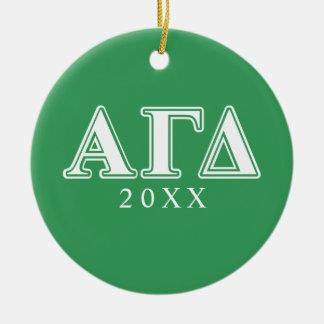 アルファガンマのデルタの白いおよび緑の手紙 セラミックオーナメント