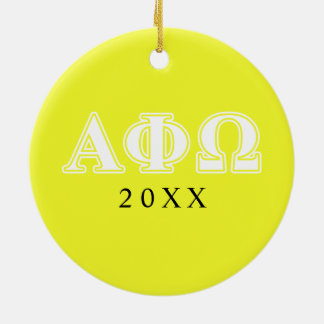 アルファファイオメガの白くおよび黄色の手紙 セラミックオーナメント