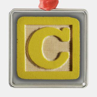 アルファベットのおもちゃのブロックC メタルオーナメント