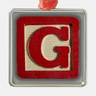 アルファベットのおもちゃのブロックG メタルオーナメント