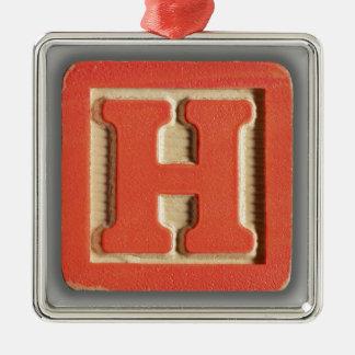 アルファベットのおもちゃのブロックH メタルオーナメント