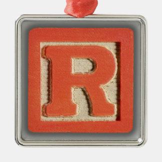 アルファベットのおもちゃのブロックR メタルオーナメント