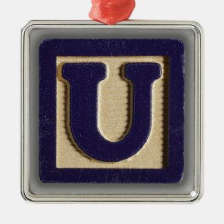 アルファベットのおもちゃのブロックU メタルオーナメント