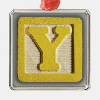 アルファベットのおもちゃのブロックY メタルオーナメント