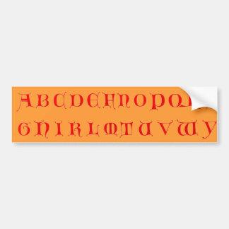 アルファベットのバンパーステッカー バンパーステッカー