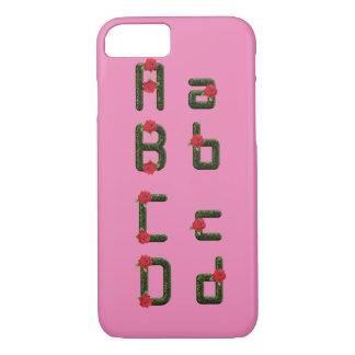 アルファベットのフォントの花柄のばら色のiPhone 7やっとそこに iPhone 8/7ケース