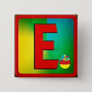アルファベットの手紙E 5.1CM 正方形バッジ