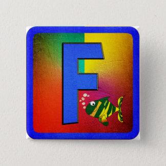 アルファベットの手紙F 5.1CM 正方形バッジ