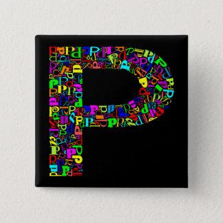 アルファベットの手紙P 5.1CM 正方形バッジ