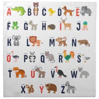アルファベット動物-すごいかわいい! ナプキンクロス