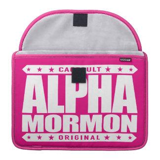 アルファモルモン教徒-白い近代の聖者の教会 MacBook PROスリーブ
