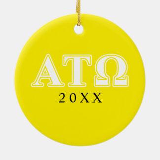 アルファTauオメガの白くおよび黄色の手紙 セラミックオーナメント