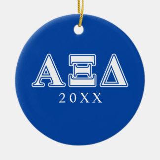 アルファXIのデルタの白くおよび青の手紙 セラミックオーナメント