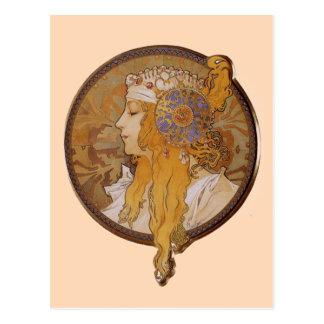アルフォンス島のミュシャによるブロンドの女性 ポストカード