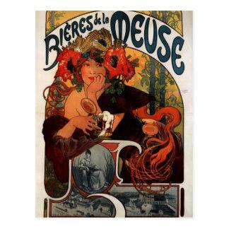 アルフォンス島のミュシャによるムーズのビール ポストカード