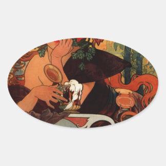 アルフォンス島のミュシャによるムーズのビール 楕円形シール