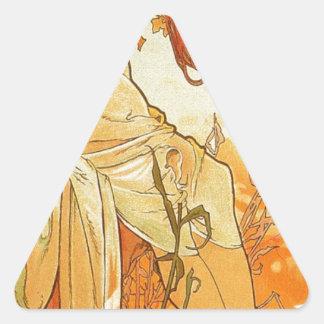 アルフォンス島のミュシャによる夏 三角形シール