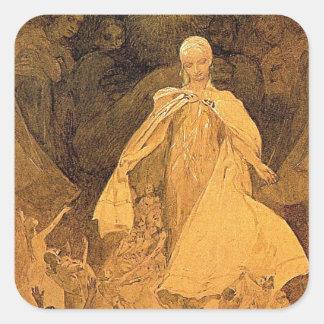 アルフォンス島のミュシャによる知恵の年齢 スクエアシール