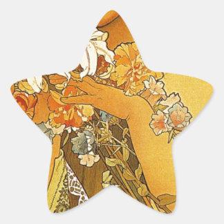 アルフォンス島のミュシャによる花 星シール