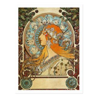 アルフォンス島のミュシャによる(占星術の)十二宮図 ポストカード