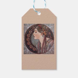 アルフォンス島のミュシャのアールヌーボーの女性の月桂樹のギフトのラベル ギフトタグパック