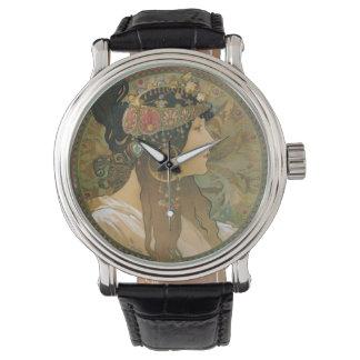 アルフォンス島のミュシャのアールヌーボーの女性 腕時計