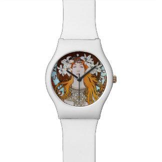 アルフォンス島のミュシャのサラ・ベルナールのヴィンテージアールヌーボー 腕時計