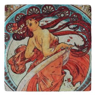 アルフォンス島のミュシャのダンスのヴィンテージのアールヌーボーの絵を描くこと トリベット
