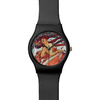 アルフォンス島のミュシャのダンスのヴィンテージのアールヌーボーの絵を描くこと 腕時計