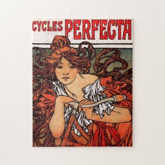 アルフォンス島のミュシャのヴィンテージの自転車のパズル ジグソーパズル
