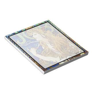 アルフォンス島のミュシャの仕事のメモ帳 ノートパッド