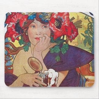アルフォンス島のミュシャの女性 マウスパッド