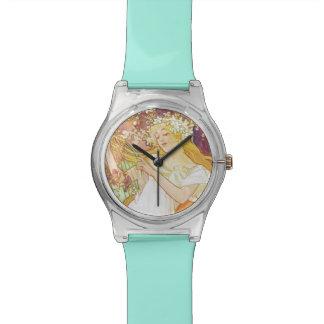 アルフォンス島のミュシャの春の花のヴィンテージアールヌーボー 腕時計
