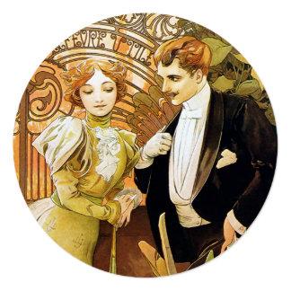 アルフォンス島のミュシャの浮気者のヴィンテージロマンチックなアールヌーボー カード