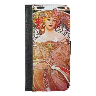 アルフォンス島のミュシャの空想の花のヴィンテージアールヌーボー iPhone 6/6S PLUS ウォレットケース