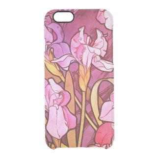 アルフォンス島のミュシャの紫色の花のヴィンテージアールヌーボー クリアiPhone 6/6Sケース