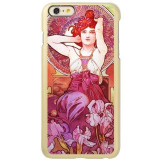 アルフォンス島のミュシャの紫色の花のヴィンテージアールヌーボー INCIPIO FEATHER SHINE iPhone 6 PLUSケース