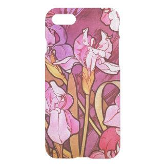 アルフォンス島のミュシャの紫色の花のヴィンテージアールヌーボー iPhone 8/7 ケース