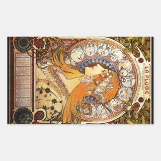 アルフォンス島のミュシャの(占星術の)十二宮図 長方形シール