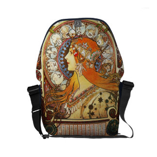 アルフォンス島のミュシャのLaの羽毛の(占星術の)十二宮図のアールヌーボーのヴィンテージ メッセンジャーバッグ